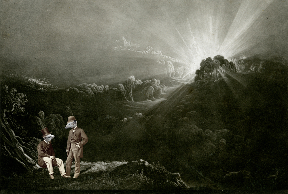 """Homage to John Martin"" - photomelange by John Martin and Charlotte Cory, 1820 & 2013"